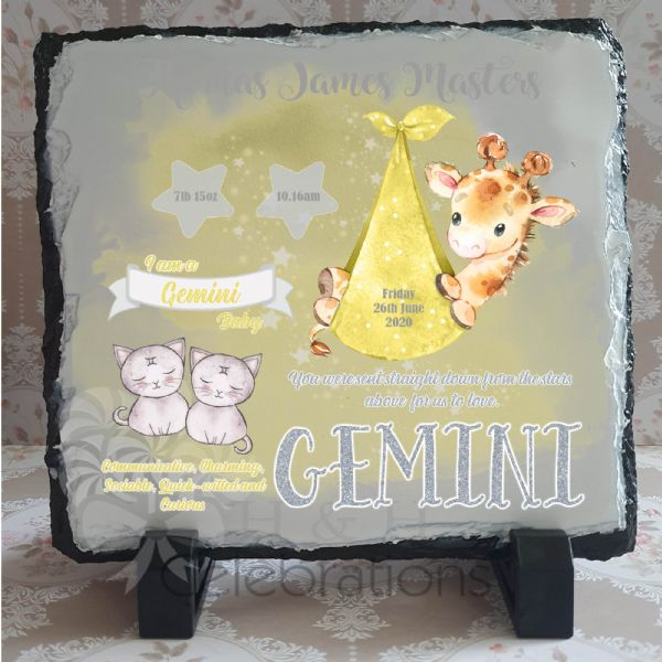 Gemini - Baby Star Sign Keepsake Rock Slate